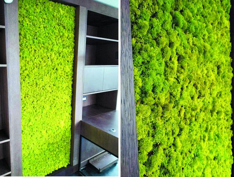 Зелени стени от светло зелен скандинавски мъх.